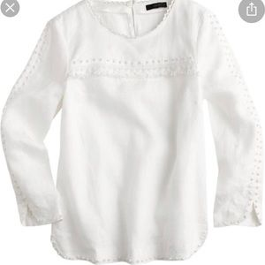 J Crew embroidered white linen blouse